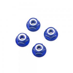 M5 Blue Aluminum Flange Lock Nut (set of 4)