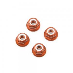 M5 Orange Aluminum Flange Lock Nut (set of 4)