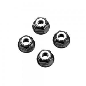 M6 Black Aluminum Flange Lock Nut (set of 4)