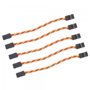 10cm Male to Male Servo Extension Cable Twisted 22AWG - JR Style (5 pcs)