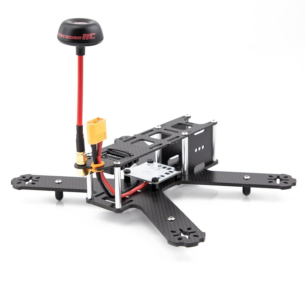 Dedicated placeholders for the video transmitter, XT60 power pigtail and FPV antenna.