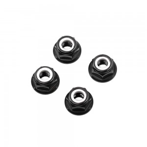 M5 Black Aluminum Flange Lock Nut (set of 4)