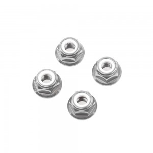 M5 Silver Aluminum Flange Lock Nut (set of 4)