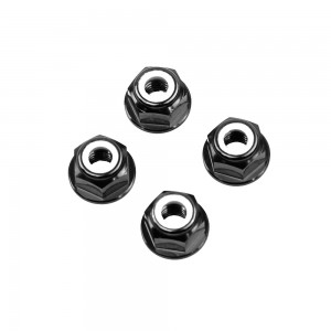 M6 Black Aluminum Flange Lock Nut (set of 4)