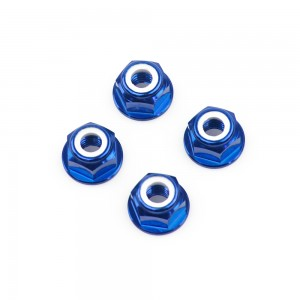 M6 Blue Aluminum Flange Lock Nut (set of 4)