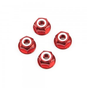 M6 Red Aluminum Flange Lock Nut (set of 4)