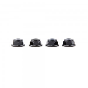 Lumenier M4 Black Aluminum Low Profile Lock Nut (set of 4 CCW)