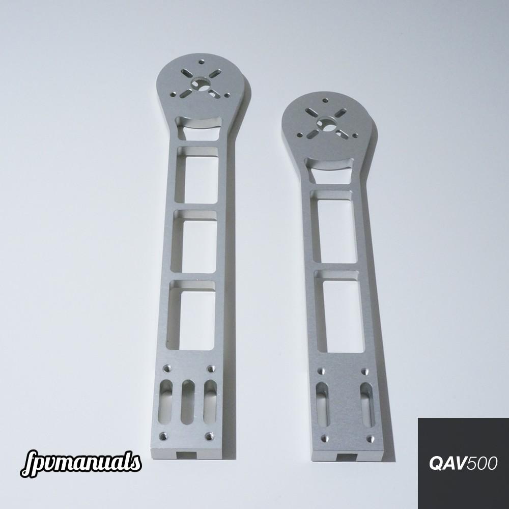 The long arm next to a regular QAV500 arms.