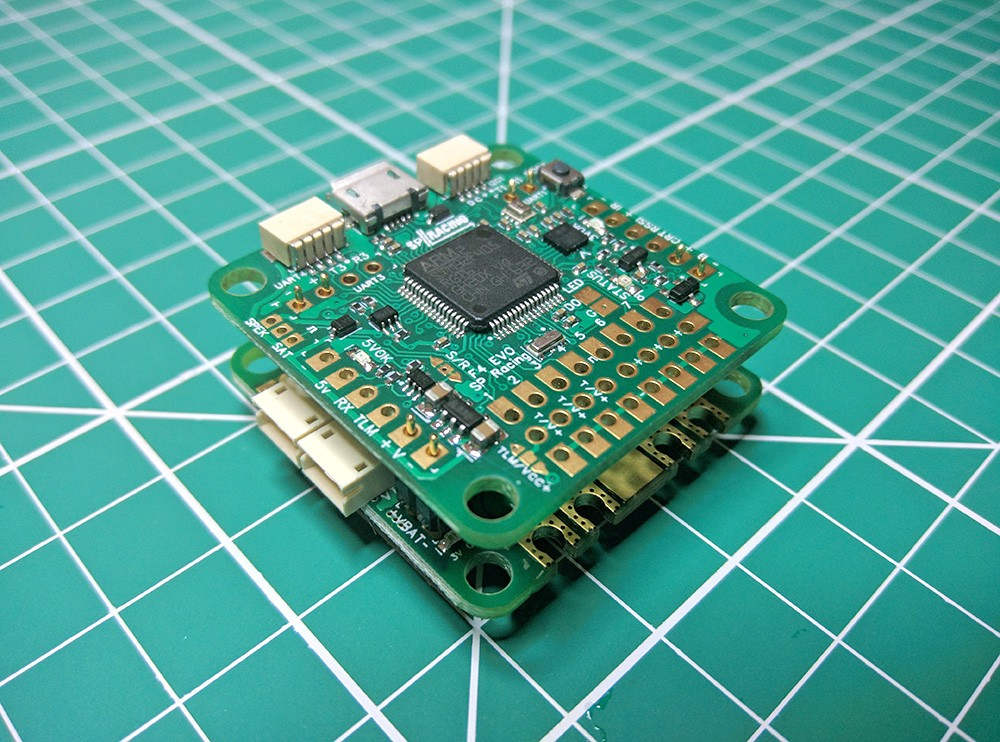 Stacks directly with the SP Racing OSD / PDB board for easy installs. (OSD / PDB sold separately)