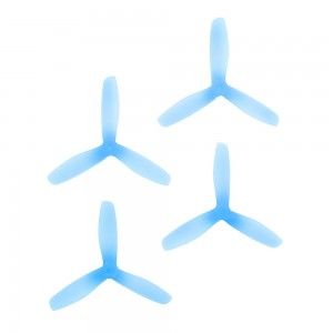 RaceKraft 5x4.5 Clear Blunt Nose Tri-Blade (Set of 4 - Blue)